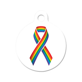 LGBT Rainbow Pride Awareness Ribbon Circle Pet ID Tag