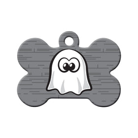 Cartoon Ghost Bone Pet ID Tag