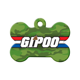 G.I. Poo Green Camouflage Bone Pet ID Tag