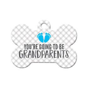 You're Going to be Grandparents (Boy) Bone Pet ID Tag
