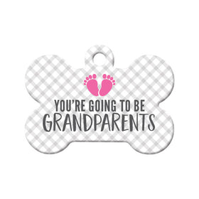 You're Going to be Grandparents (Girl) Bone Pet ID Tag