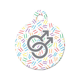Confetti Gay Pride Circle Pet ID Tag