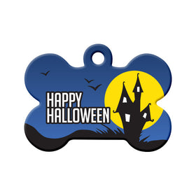 Halloween Haunted House Bone Pet ID Tag