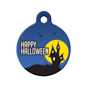 Halloween Haunted House Circle Pet ID Tag