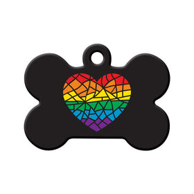 Mosaic Rainbow Heart Bone Pet ID Tag