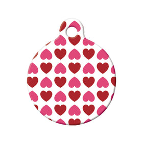 Hearts Pattern Circle Pet ID Tag