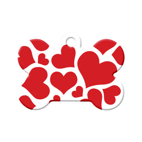Hearts Pattern Bone Pet ID Tag