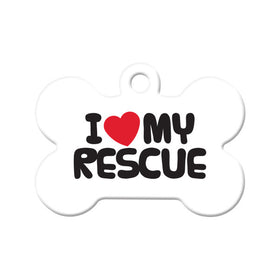I Love My Rescue Bone Pet ID Tag