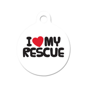 I Love My Rescue Circle Pet ID Tag