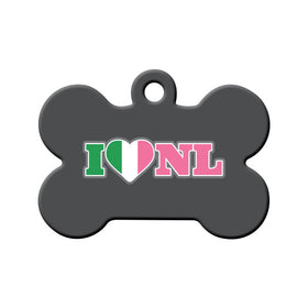 I Love NL (Republic of NL Colors) Bone Pet ID Tag