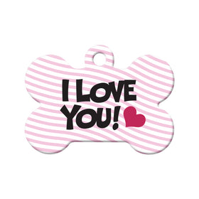 I Love You Bone Pet ID Tag