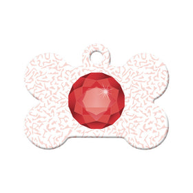 January Birthstone Bone Pet ID Tag