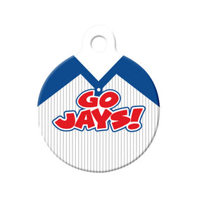 Go Jays! Baseball Tee Circle Pet ID Tag