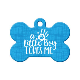 Little Boy Loves Me (Blue) Bone Pet ID Tag