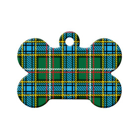 Labrador Tartan Pattern Bone Pet ID Tag