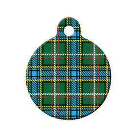 Labrador Tartan Pattern Circle Pet ID Tag