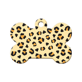 Leopard Pattern Bone Pet ID Tag