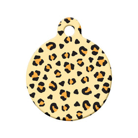 Leopard Pattern Circle Pet ID Tag