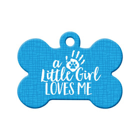 Little Girl Loves Me (Blue) Bone Pet ID Tag