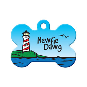Newfie Dawg - Lighthouse Design Bone Pet ID Tag