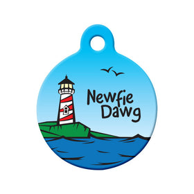 Newfie Dawg - Lighthouse Design Circle Pet ID Tag