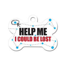 Help Me. I Could be Lost Bone Pet ID Tag