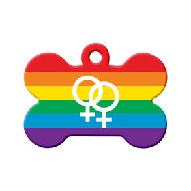 LGBT+ Pride Flag with Female Symbols Bone Pet ID Tag