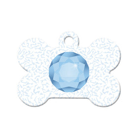 March Birthstone Bone Pet ID Tag