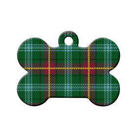 Manitoba Tartan Pattern Bone Pet ID Tag