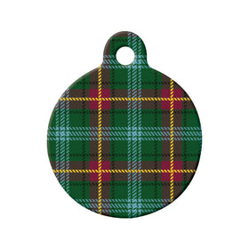 Manitoba Tartan Pattern Circle Pet ID Tag