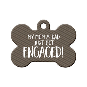 Engagement Announcement (Mom & Dad) Bone Pet ID Tag