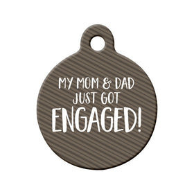Engagement Announcement (Mom & Dad) Circle Pet ID Tag