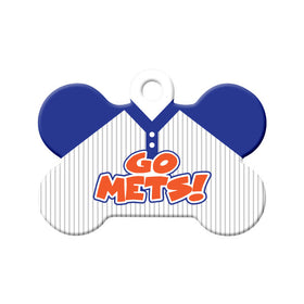 Go Mets! Baseball Tee Bone Pet ID Tag