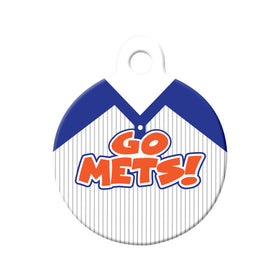 Go Mets! Baseball Tee Circle Pet ID Tag