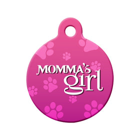Momma's Girl (Pink) Circle Pet ID Tag