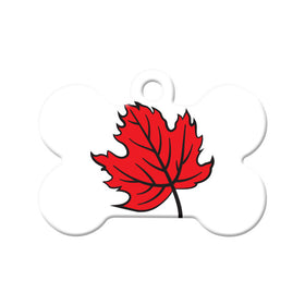 Canada Maple Leaf Design Bone Pet ID Tag