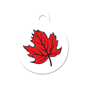 Canada Maple Leaf Design Circle Pet ID Tag