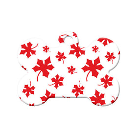Canadian Maple Leaf Pattern Bone Pet ID Tag