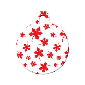 Canadian Maple Leaf Pattern Circle Pet ID Tag