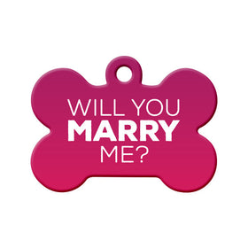 Will you Marry Me? (Pink) - Proposal Tag Bone Pet ID Tag