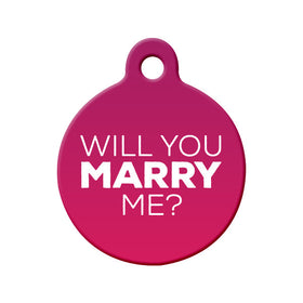 Will you Marry Me? (Pink) - Proposal Tag Circle Pet ID Tag