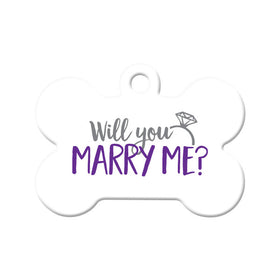 Will you Marry Me? (White) - Proposal Tag Bone Pet ID Tag