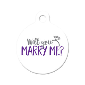 Will you Marry Me? (White) - Proposal Tag Circle Pet ID Tag