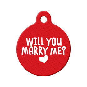 Will you Marry Me? (Red) - Proposal Tag Circle Pet ID Tag