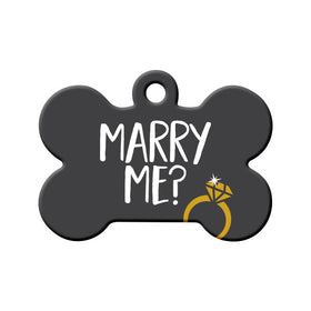 Will you Marry Me? (Grey) - Proposal Tag Bone Pet ID Tag