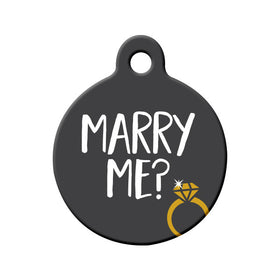 Will you Marry Me? (Grey) - Proposal Tag Circle Pet ID Tag