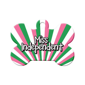 Miss Independent Republic of NL Colors Bone Pet ID Tag