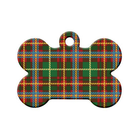 New Brunswick Tartan Pattern Bone Pet ID Tag