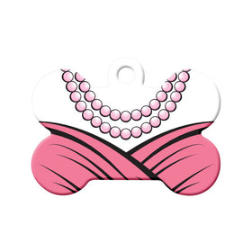 Pink Dress and Pearls Bone Pet ID Tag