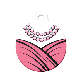 Pink Dress and Pearls Circle Pet ID Tag
